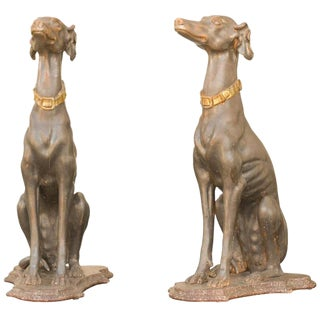 Pair of Italian Carved Wood Seated Greyhound Sculptures from the 19th Century