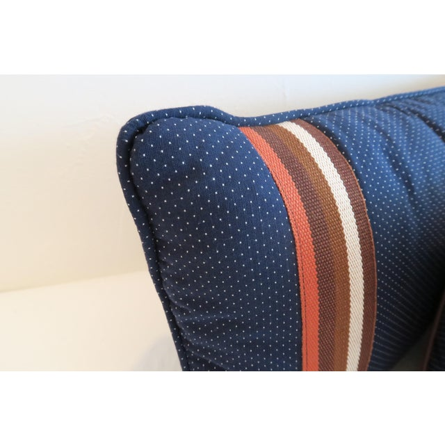 Custom Navy and Orange Stripe Pillows - a Pair - Image 4 of 4