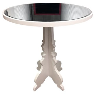 Round White Beveled Mirror Entry Table