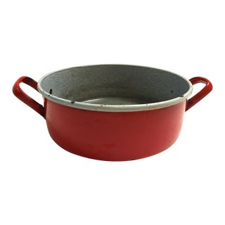 Midcentury Red Enamelware Harvest Bowl/Pan