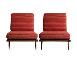 Pair of George Nakashima Slatted Walnut Chairs