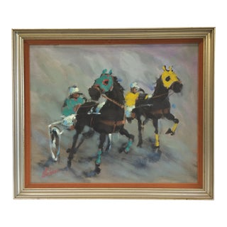 Vintage Abstract Harness Racing Painting