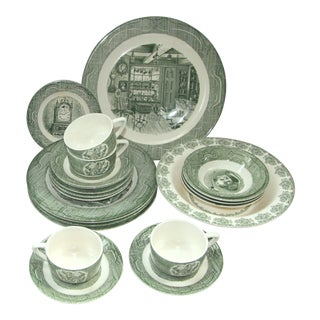 Old Curiosity Shop by Royal Green Transfer Ware - Service for 4