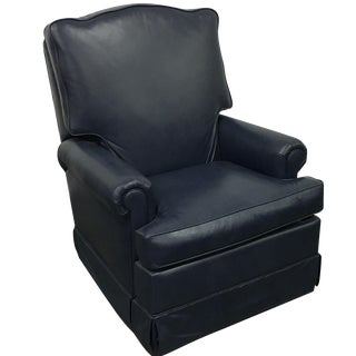 Navy Blue Swivel Recliner by Leathercraft