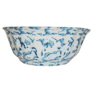 19th Century Spongeware Pottery Fluted Fruit Bowl