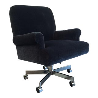A. Rudin Mohair and Chrome Executive Chair
