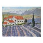 French Lavender Farm Watercolor Painting