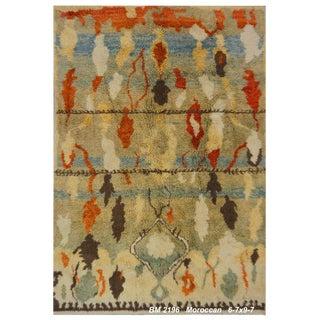 Turkish Moroccan Design Wool Rug - 6′7″ × 9′7″