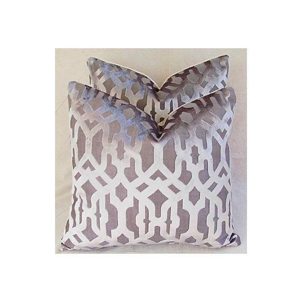 Designer Gray Geometric Trellis Pillows - A Pair - Image 3 of 8