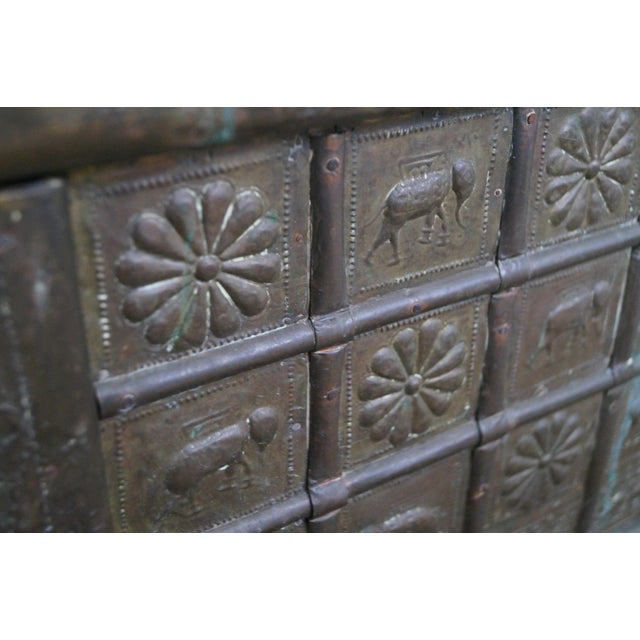 Antique Moroccan Iron & Brass Bound Lidded Chest - Image 6 of 10