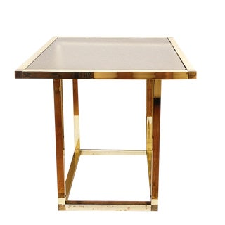 Hollywood Regency Brass Smoke Glass Top End Table