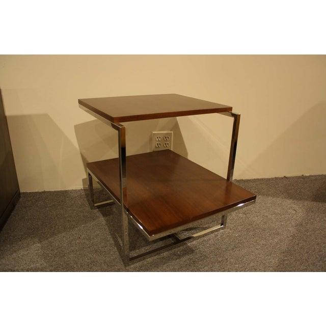 Image of Belle Meade Modern Wood & Chrome Side Table