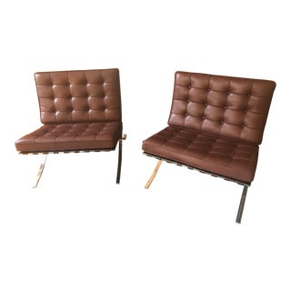 Knoll Barcelona Chocolate Brown Chairs - A Pair