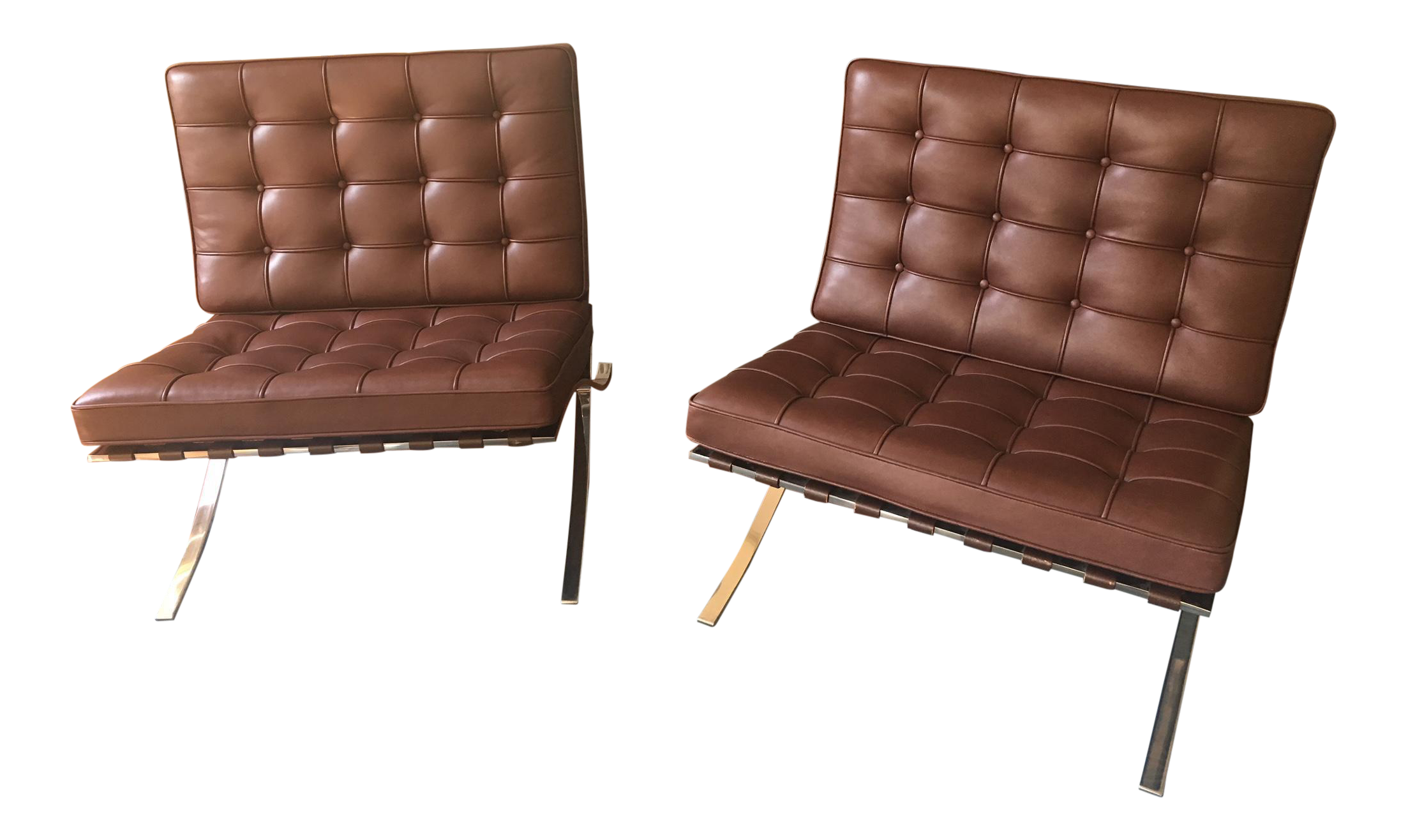 Knoll Barcelona Chocolate Brown Chairs   A Pair