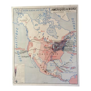 Vintage French Map of North America
