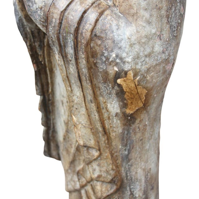 Antique Wooden Monk Statue - Image 5 of 6