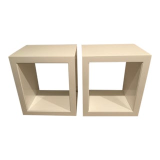 White Lacquer Side Tables - A Pair