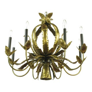 T. A. Greene Brutalist Brass Eight-Arm Chandelier