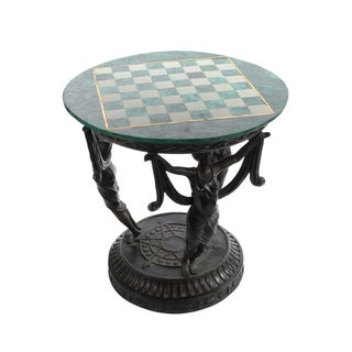 Malachite Chess Game Table with Figural Base