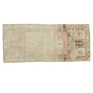 Vintage Ivory and Peach Oushak Rug