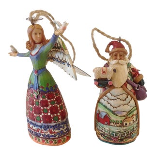 Santa and Angel Ornaments - a Pair