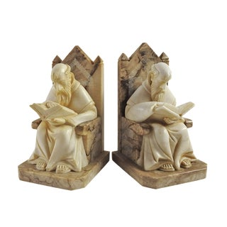 Antique Marble Scholar Bookends - A Pair