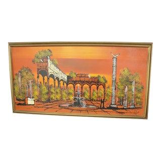 1950s Vintage Orange Ruins Painting by V Ran Raymor