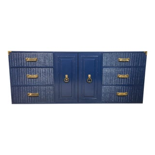Campaign Style Navy Lacquered Credenza