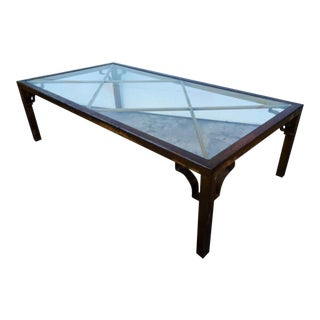 Oxidized Solid Brass and Glass Coffee Table