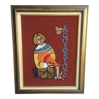 Vintage Needlepoint/Crewelwork Art, Aquarius