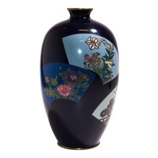 Circa 1863 Meiji Period Ovoid Floral Cloisonné Fan Vase