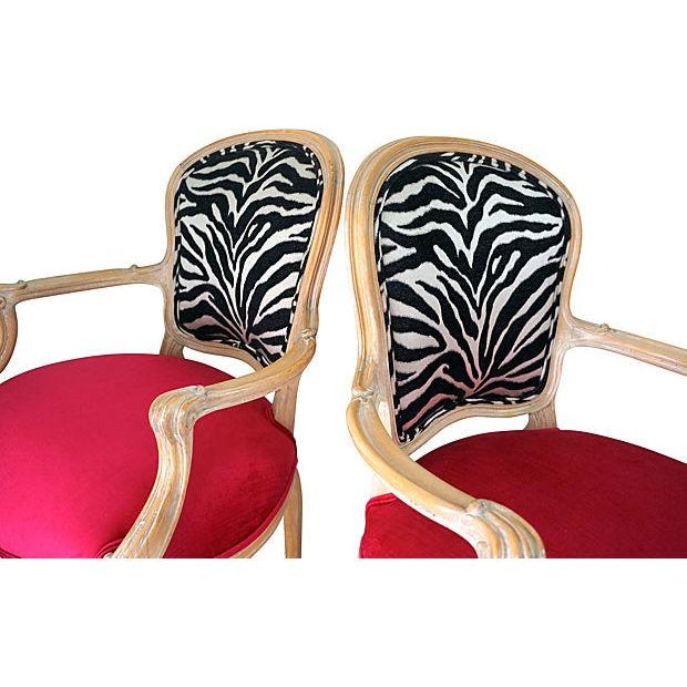 Vintage Pink & Zebra Print French Chairs - A Pair - Image 3 of 6