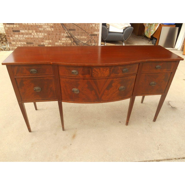 Image of Antique Federal Serpentine Flame Mahogany Buffet