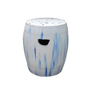 Chinese White Blue Round Clay Ceramic Garden Stool