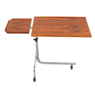 Danish Rosewood & Chrome Adjustable Tray Table