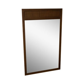 Mid Century Modern Walnut & Cane Hanging Wall Mirror