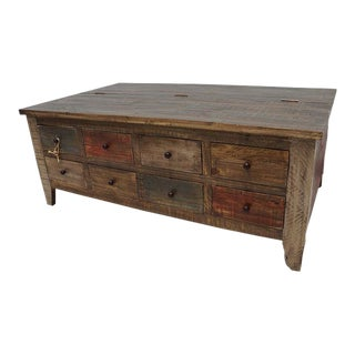 Rustic Boat Wood Style Storage Coffee Table