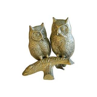 Mid-Century Modern Brass Owls on Branch Statue