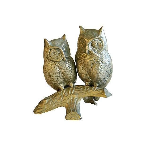 Image of Mid-Century Modern Brass Owls on Branch Statue