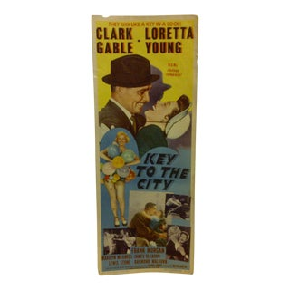 """Vintage Movie Poster """"Key to the City"""" Clark Gable & Loretta Young - 1950"""