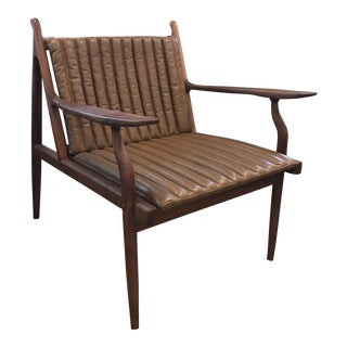 American Black Walnut & Leather Lounge Chair