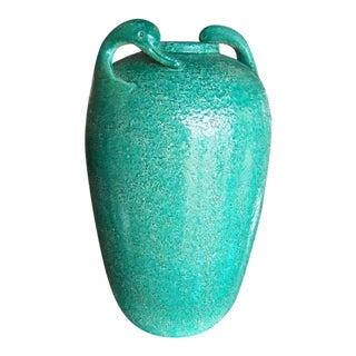Swan Motif Glazed Pottery Vase