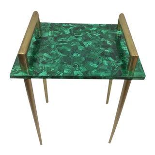 Malachite & Metal Handle Side Table