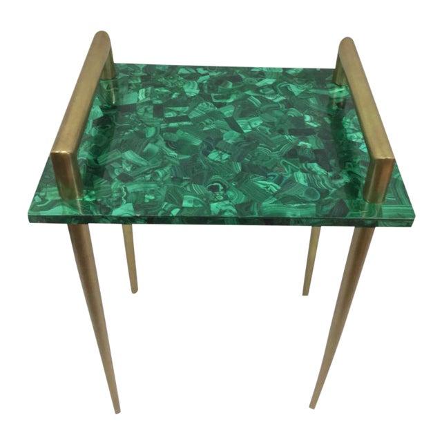 Image of Malachite & Metal Handle Side Table