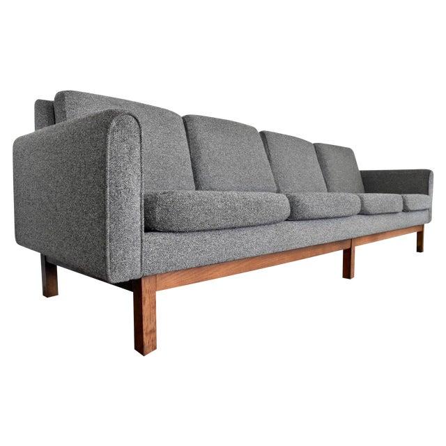 Image of Mid-Century Modern Long Gray Wool Sofa
