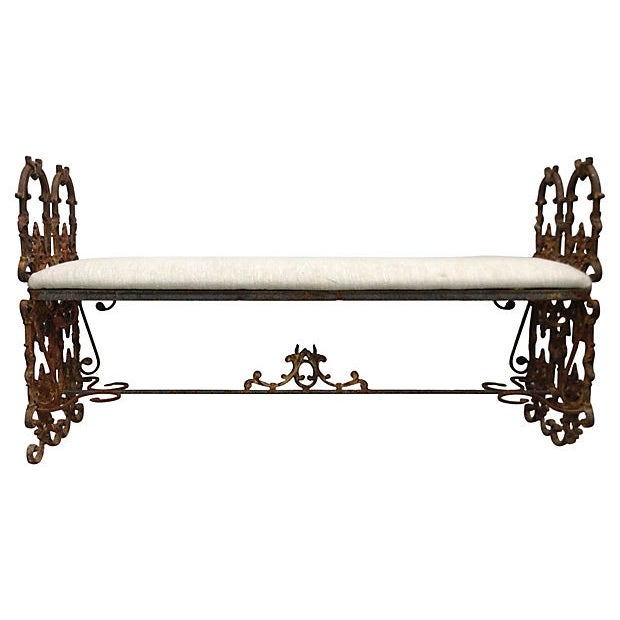 Hand-Forged Iron Bench - Image 1 of 6