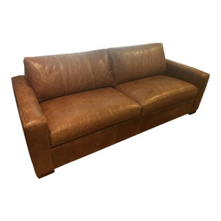 Hudson Brown Leather Sofa by Ethan Allen