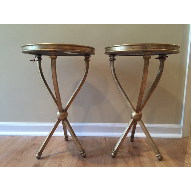 Pearson Mitchell Gold Metal Tripod Tables - A Pair - Image 2 of 4
