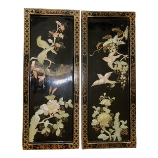 Oriental Black Lacquered Bird & Floral Panels - A Pair