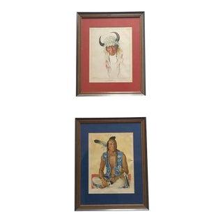 Mid Century Modern Native American Portrait Prints - a Pair